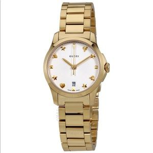 { Gucci } G-Timeless Silver Dial Gold PVD Watch